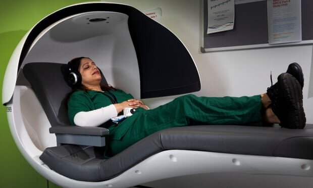 nhs worker in nap pod