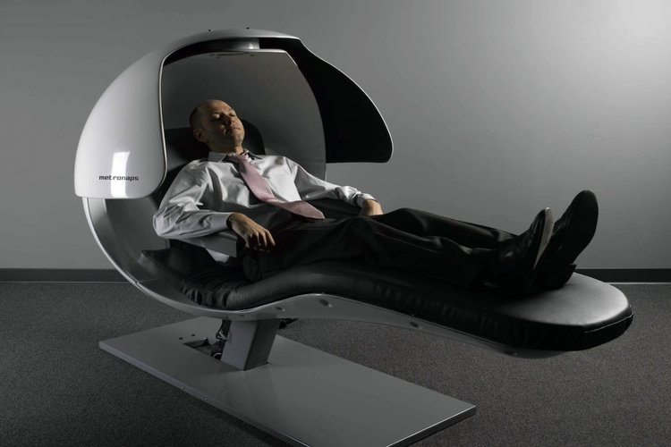 business man in nap pod
